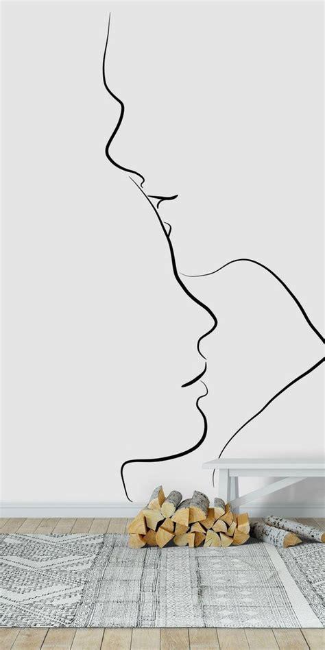 forehead kiss wall mural   minimalist drawing