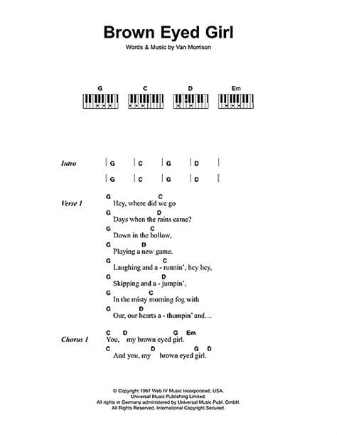 printable lyrics for brown eyed girl brown eyed girl sheet music by van morrison lyrics