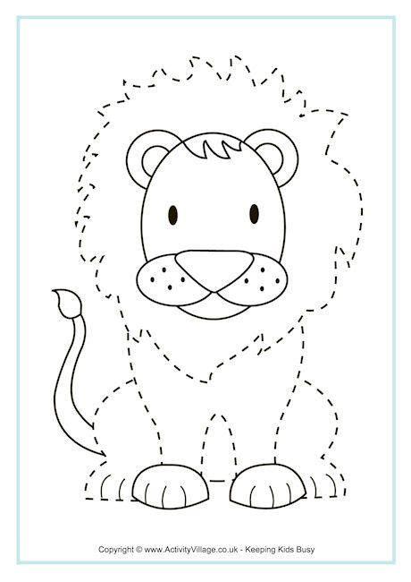 lion tracing page pre k and kindergarten printables