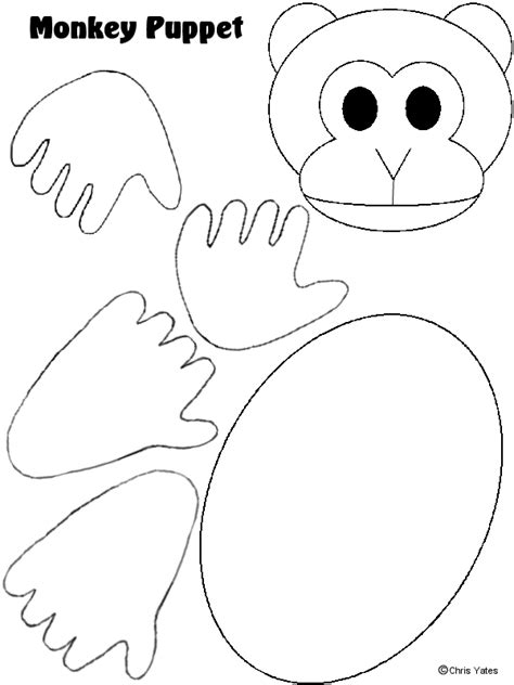 Paper Bag Monkey Craft - monkey puppet template pattern templates