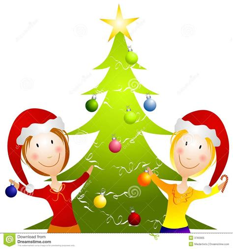 young women trimming christmas tree stock illustration