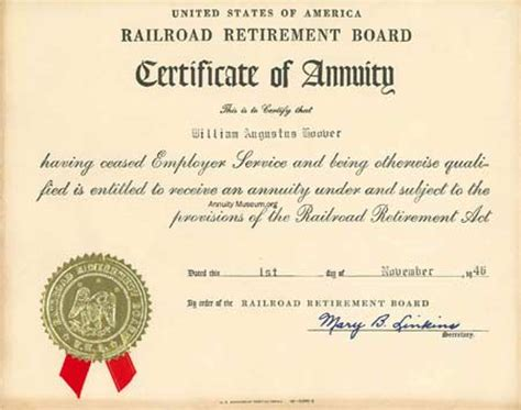 certification letter for retirement 1946 11 1 railroad retirement board certificate of