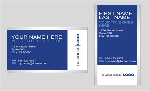 generic blue and silver business card template in vector