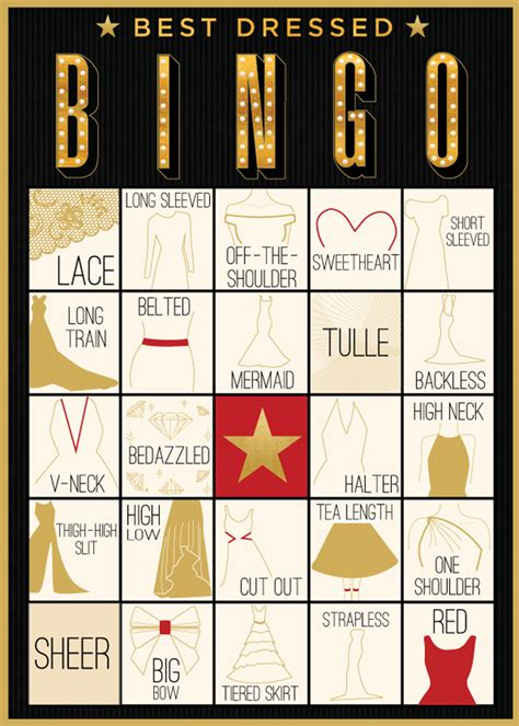 awards show bingo gown edition evite