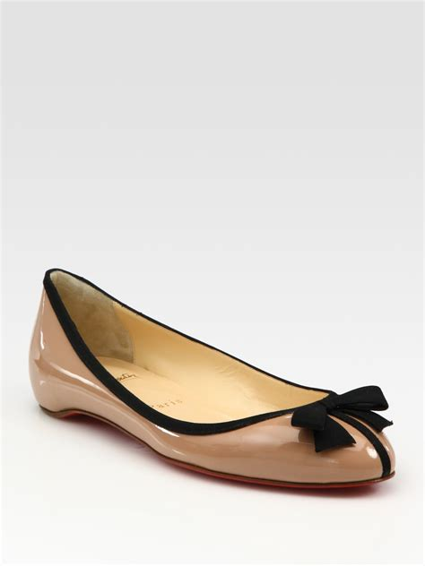 shoes flats lyst christian louboutin patent leather bow ballet flats