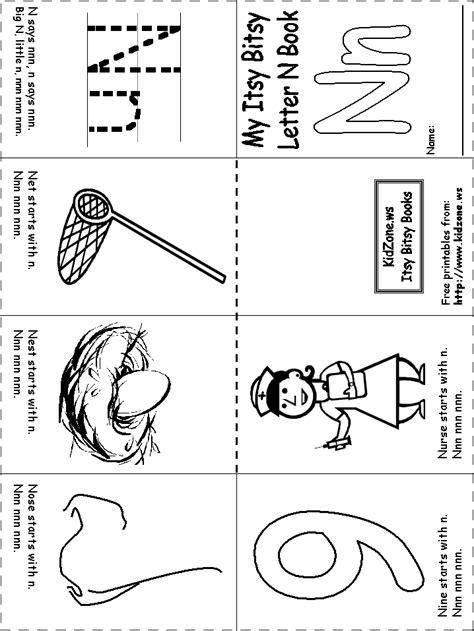 kindergarten activities letter n itsy bitsy book