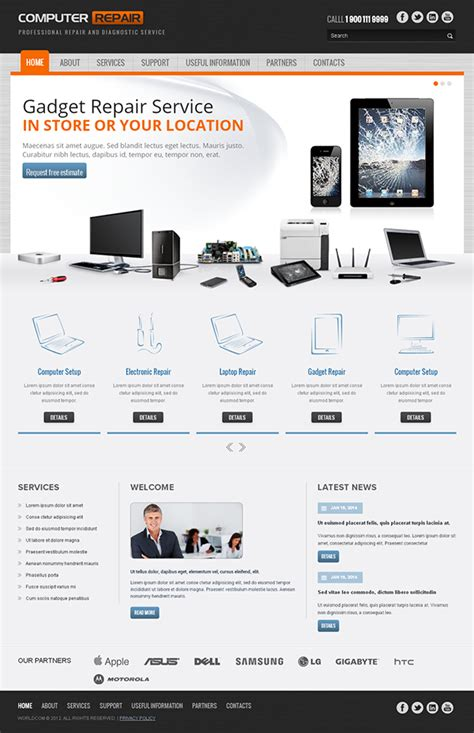 computer website templates free computer repair responsive template on behance