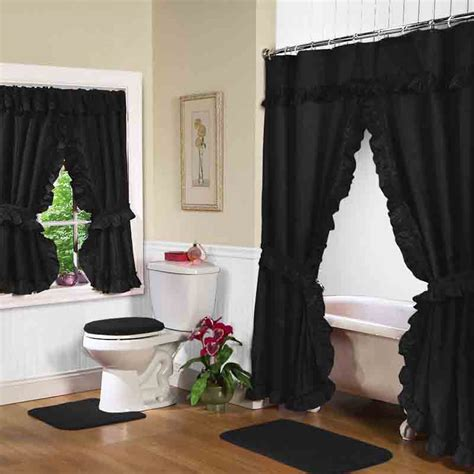 black bathroom curtains black double swag shower curtain