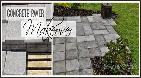 Paver Patio Makeover Stains Stitches And 2 Can You Paint Patio Pavers