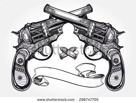 crossed revolvers tattoo pistol stock images royalty free images vectors