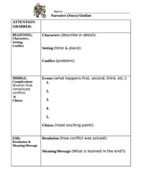 template for narrative writing narrative writing outline worksheet with student exle