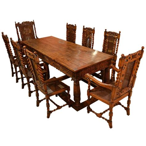 Antique Dining Table Chairs Antique Solid Oak Refectory Dining Table And 8 Chairs At 1stdibs