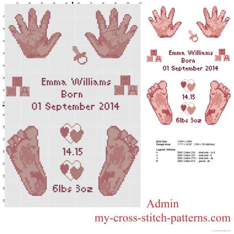 How To View Birth Records For Free Cross Stitch Pattern Birth Record With Baby Pink And