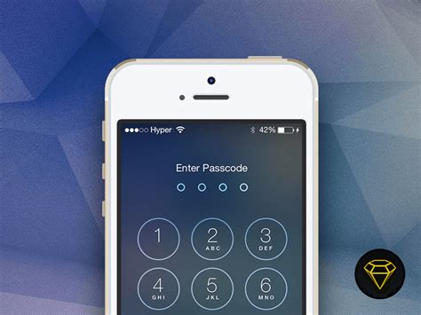 iphone passcode layout ios 7 lock with passcode screen sketch freebie download