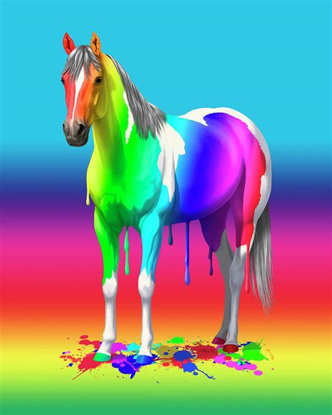 colorful horses colorful rainbow paint painting by crista forest