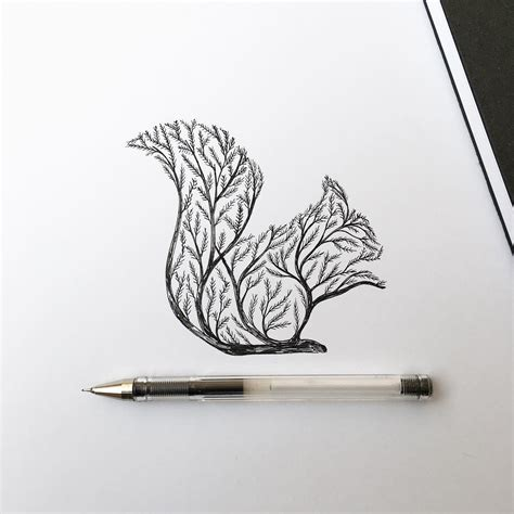 Sketches With Pen by Pen Ink Depictions Of Trees Sprouting Into Animals By