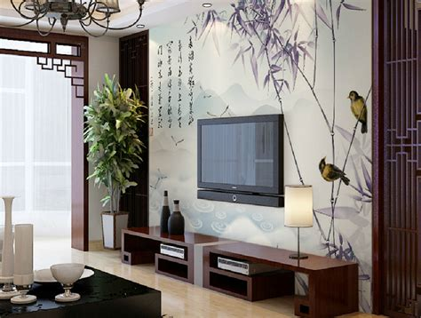 Wallpaper Ideas For Dining Room chinese tv wall decoration bamboo wallpaper and