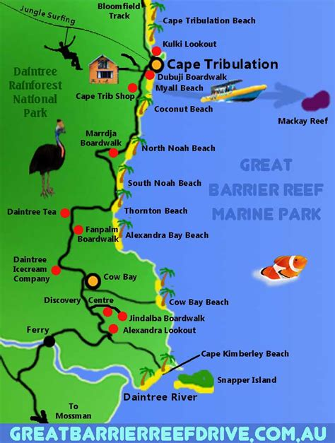 great barrier reef map maps of the great barrier reef drive from cairns to cape tribulation
