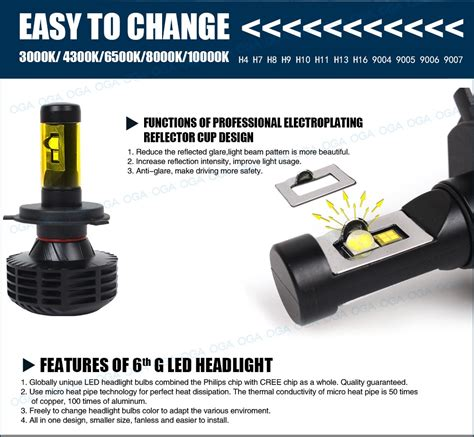 Lu Led H11 Chip Smd Cree Xhp 50 Terbaik oga 2pc canbus for luxeon mz cree led chips xhp50 car led headlight kit h4 hb2 9003 h7 h8 h9 h11