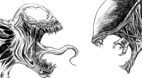 venom vs alien black pen bruno silva flickr