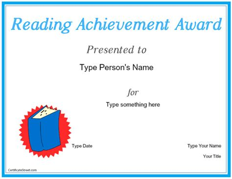 reading certificate template education certificates reading achievement award
