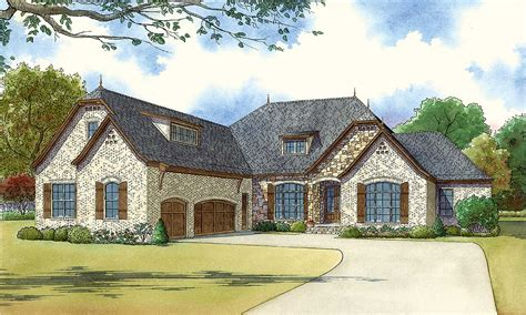 bedroom brick  stone house plan mk