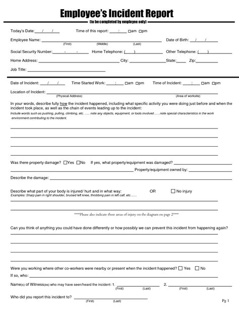 employee report template best photos of hr incident report form employee incident