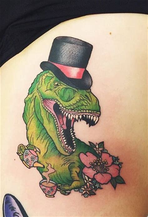 new school dinosaur tattoo school style colored gentleman style dinosaur
