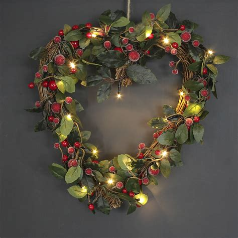 light up wreaths light up shaped berry wreath by ella