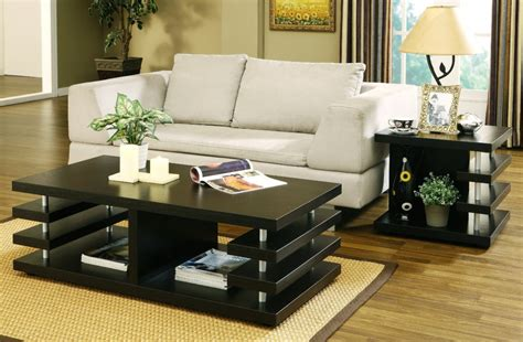 Living Room Coffee Table Living Room Multi Shelves Black Living Room Table Set Occasional Table Option For Living