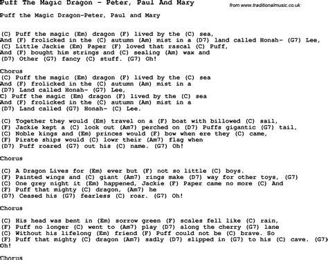 printable lyrics for puff the magic dragon song puff the magic dragon by peter paul and mary song