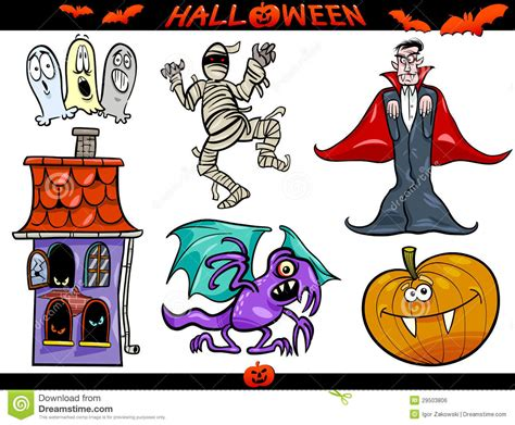 themes in cartoons halloween cartoon themes set stock vector image 29503806