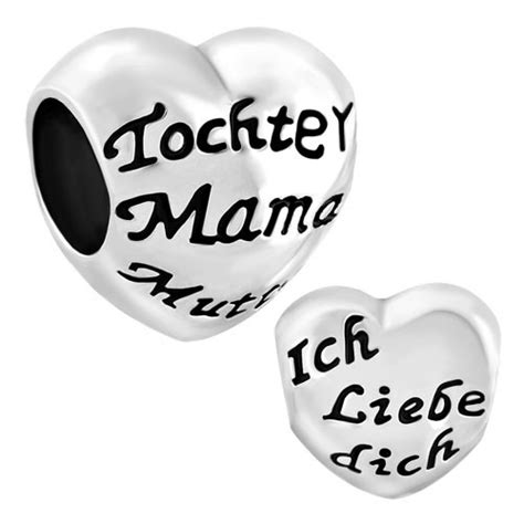 Heart Tochter Mama Mutter Ich Liebe Dich Spacer Silver Plated Beads Pandora Chamilia Compatible