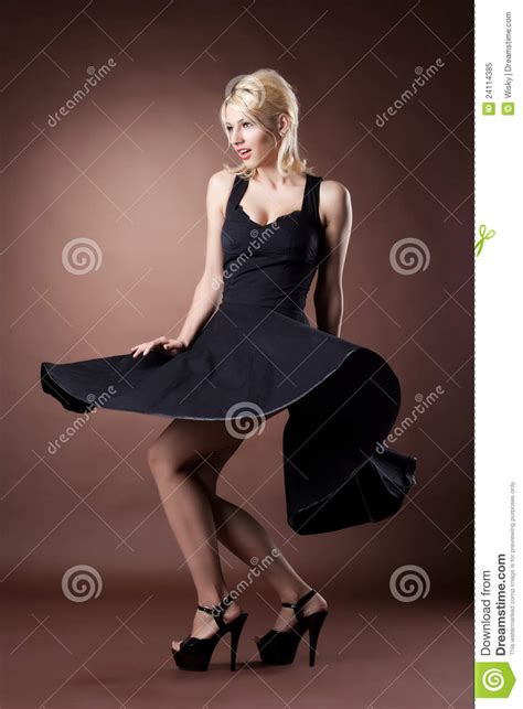 cute pinups for bla k women cute woman in black pinup style dance on dark royalty free