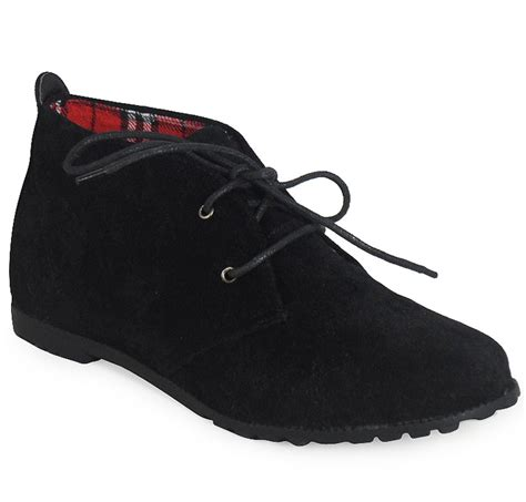 womens black lace up faux suede flat ankle loafers