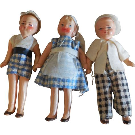 bisque doll painted 3 painted bisque doll house children from