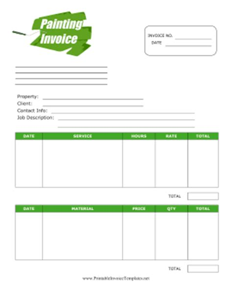painters invoice template painting invoice template
