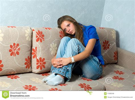 girl on the couch beautiful girl on couch royalty free stock photos image