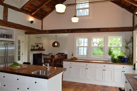 Vaulted Kitchen Ceiling Ideas Vaulted Ceiling Rustic Kitchen Boston By Nashawtuc