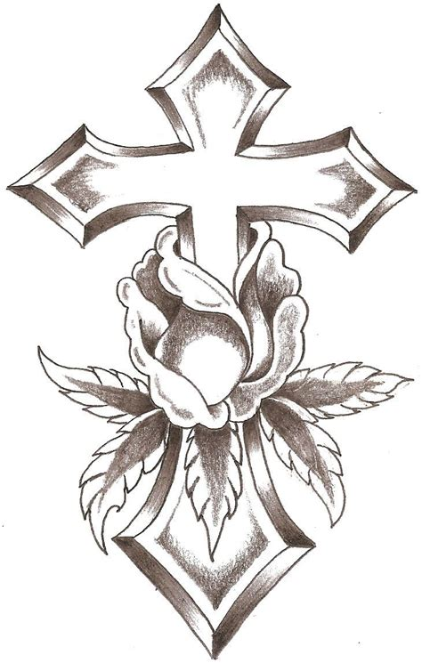 rose cross tattoo line design crosses cross by thelob gourds