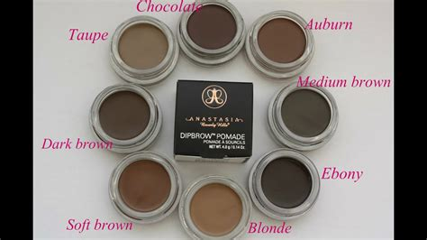 dipbrow colors dipbrow 8 colours swatches dipbrow pomade abh