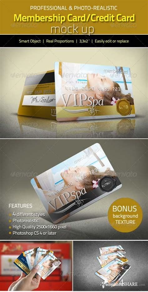 photoshop free membership card templates psd graphicriver photorealistic membership card credit card