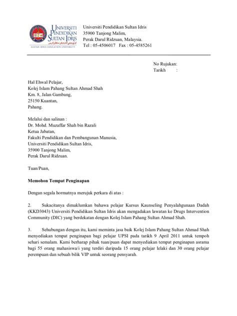 surat permohonan penginapan
