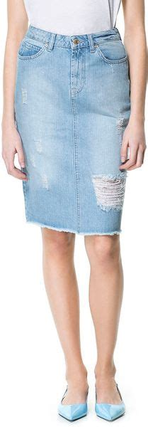 zara ripped denim pencil skirt in blue lyst