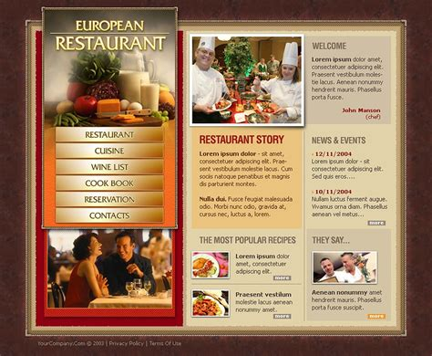 templates for restaurant website european restaurant website template web design