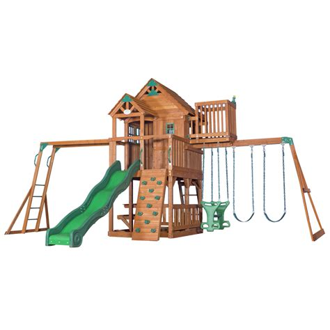 lowes outdoor swing sets shop backyard discovery skyfort ii residential wood