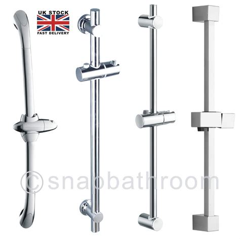 Bracket Headl Chrome Bathroom Adjustable Shower Riser Rail Bracket