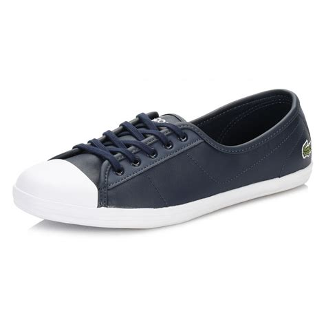 lacoste flat shoes lacoste womens trainers ziane bl 1 spw leather lace up