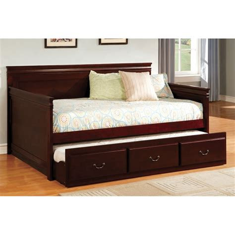 cymax beds furniture of america liam twin daybed with trundle in
