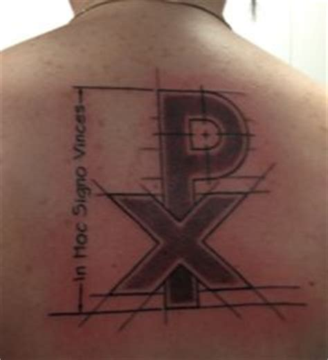 in hoc signo vinces tattoo chi rho anchor chi and rho together symbolize kristos